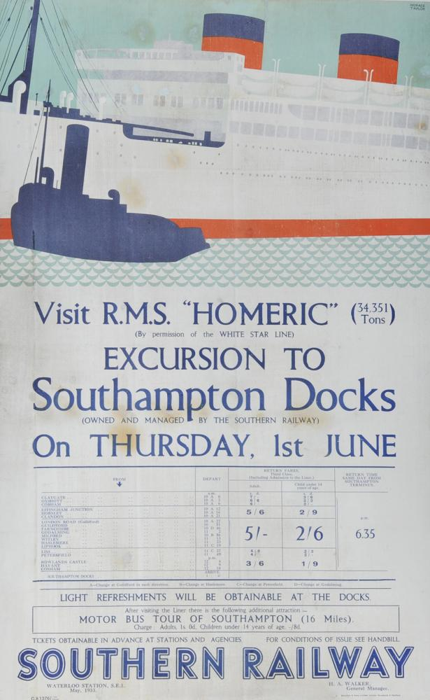 Poster Southern Railway, 'RMS Homic White Star