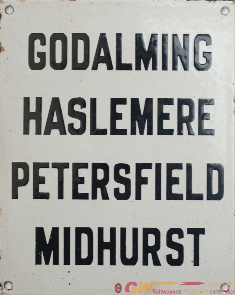 LSWR Enamel Destination Sign GODALMING HASLEMERE