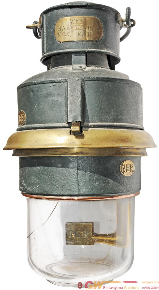 North Eastern Railway Pot Lamp. Brass Plated With
