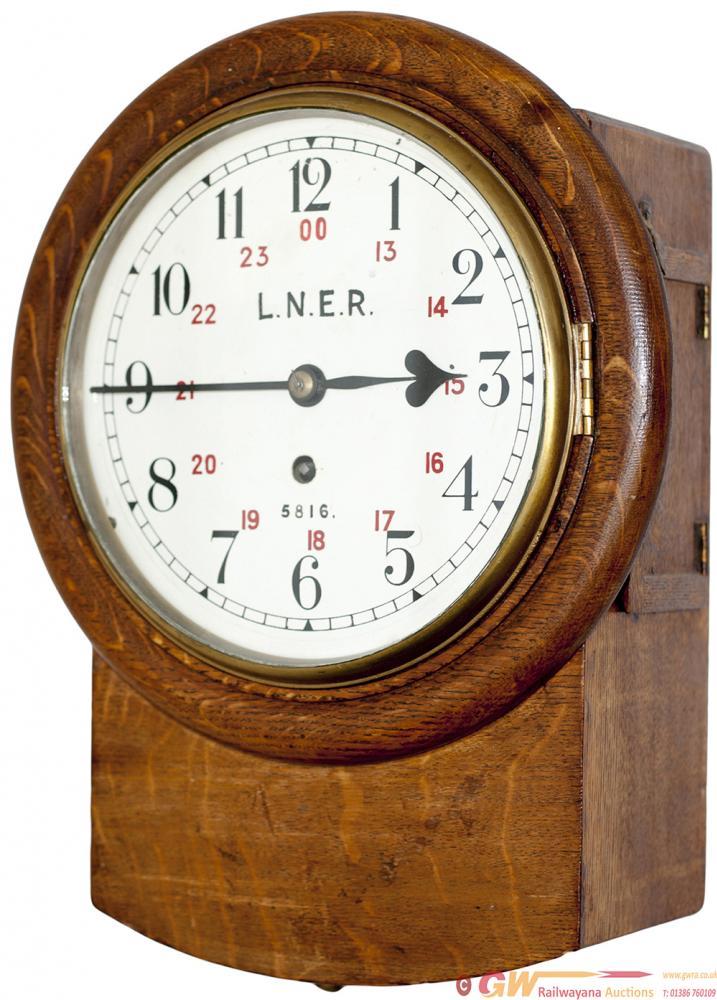 North Eastern Railway 8-Inch Oak Cased Iron Dial