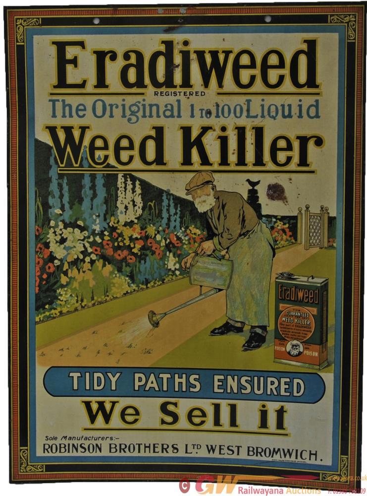 Tinplate Sign 'Eradiweed Weed-Killer' Measures 14