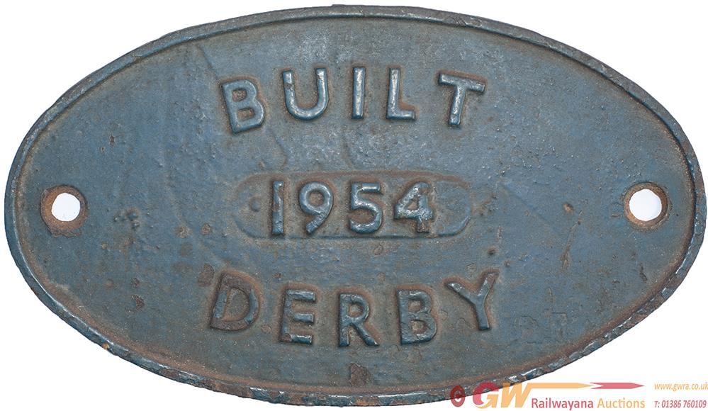 Diesel Worksplate BUILT 1954 DERBY Ex British