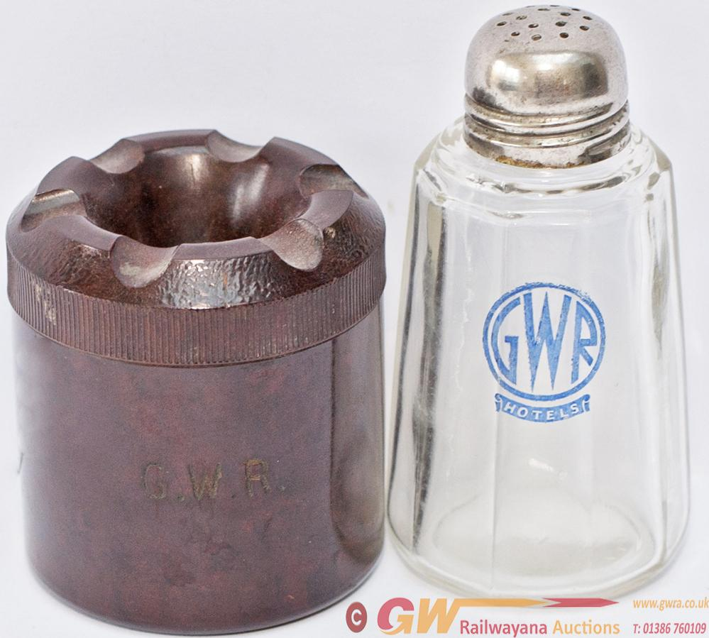 GWR Glass Pepper Pot Marked With The GWR Hotels