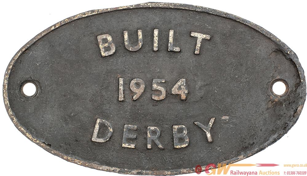Worksplate BUILT 1954 DERBY. Locomotives Built