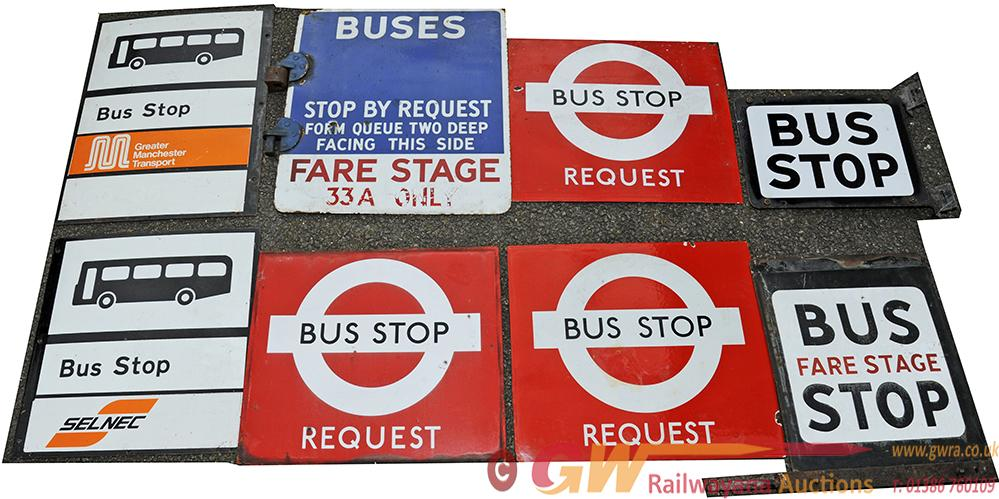 Bus Stop Enamel Signs, A Small Collection Of 8