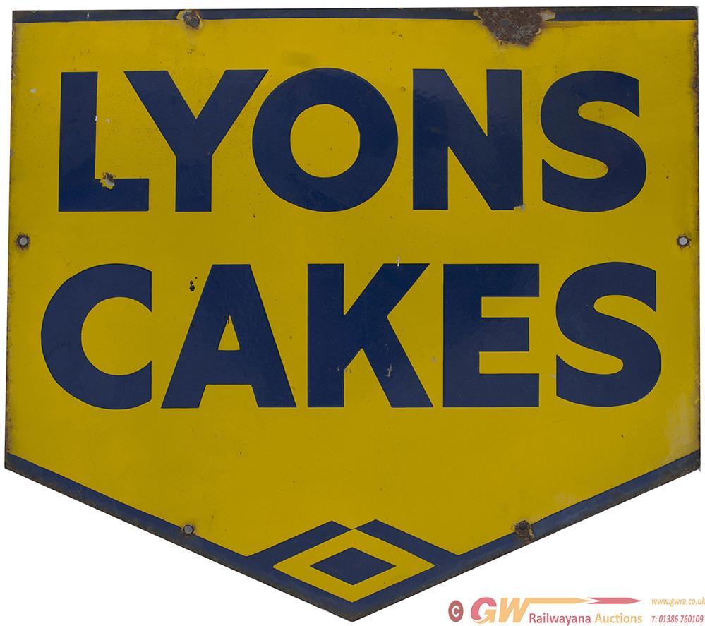 Advertising Enamel LYONS CAKES, Blue On Yellow