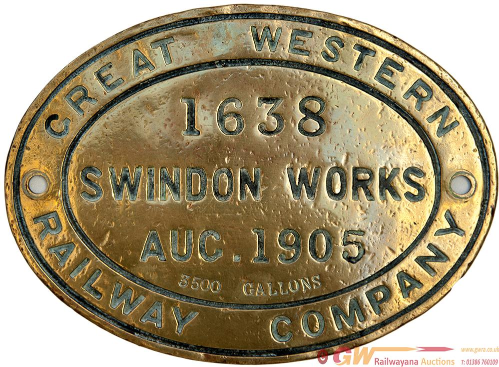GWR Brass Oval Tenderplate 1638 SWINDON WORKS AUG