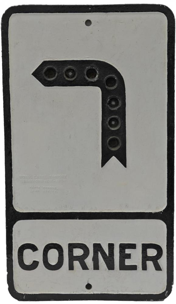 Cast Alloy Road Sign 'Corner', 21X12, No Reflector