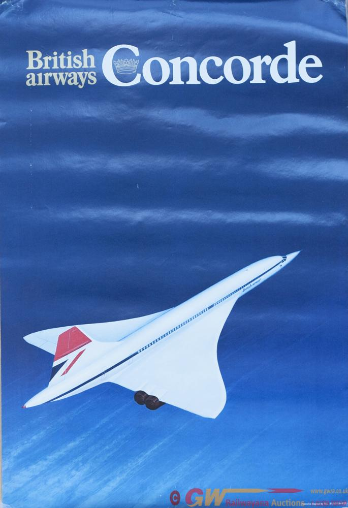 Poster BRITISH AIRWAYS CONCORDE. Double Crown 20in