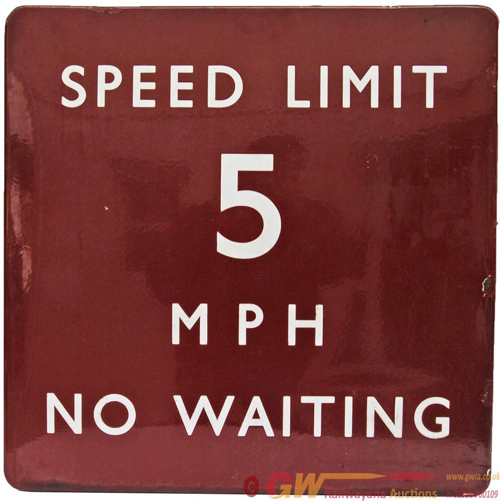BR(M) Enamel Station Sign SPEED LIMIT 5mph NO