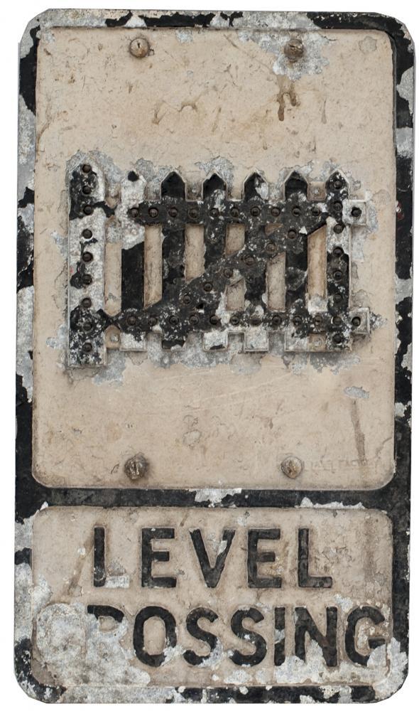 Motoring Road Sign LEVEL CROSSING. Cast Aluminium
