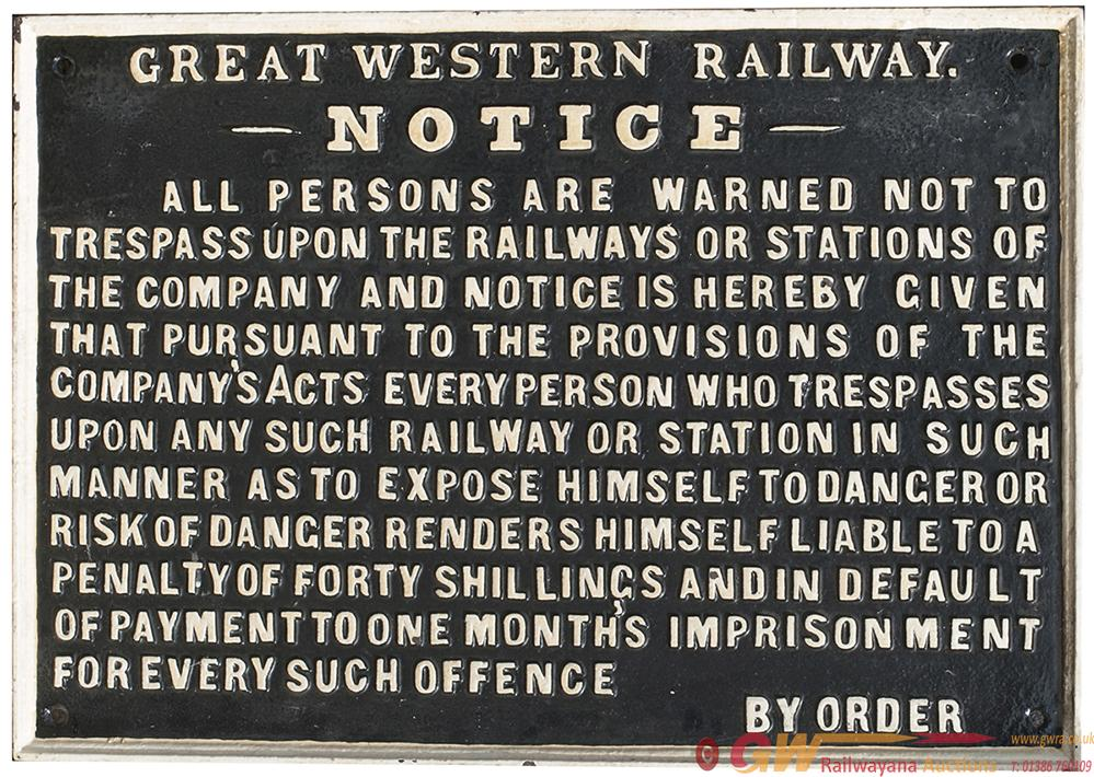 GWR Cast Iron Pre-Grouping TRESPASS Sign, Fully