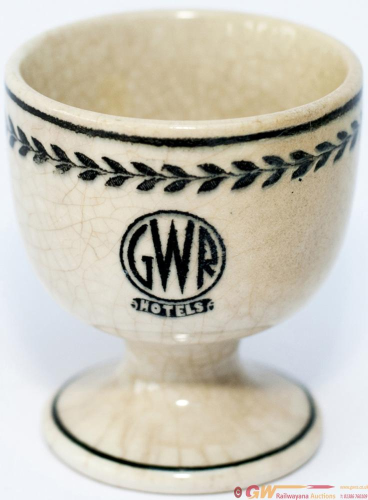 GWR Black Leaf Pattern China Egg Cup, Base Marked