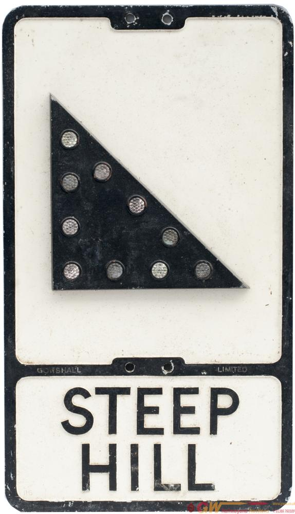 Road Sign STEEP HILL. Cast Aluminium With Glass