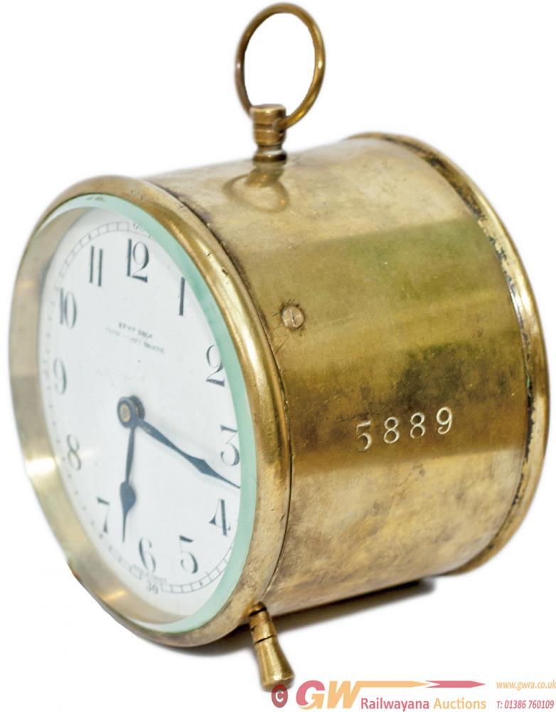 GWR Brass Drum Clock With Enamel Dial KEMP BROS
