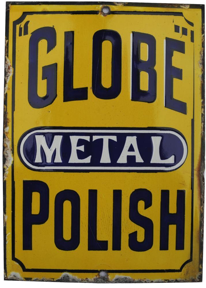 Enamel Advertising Sign 'Globe Metal Polish', 5 X