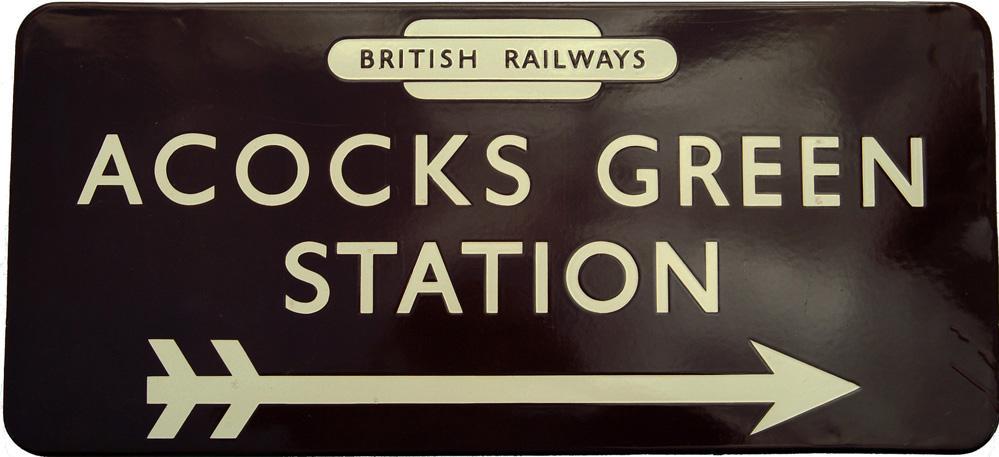 BR(W) Enamel Station Direction Sign ACOCKS GREEN