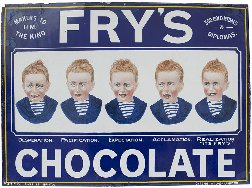 Advertising Enamel Sign FRY'S CHOCOLATE Depicting