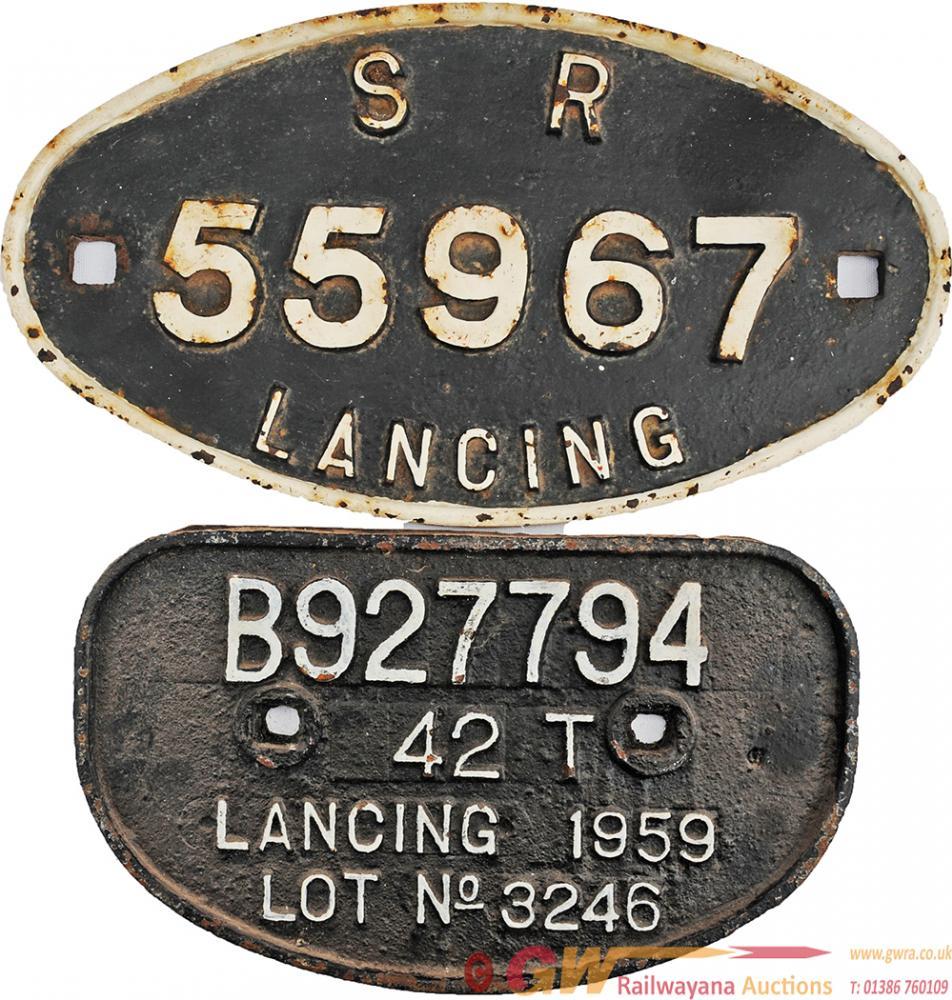 Southern Railway Oval Wagon Plate SR 55967 Lancing