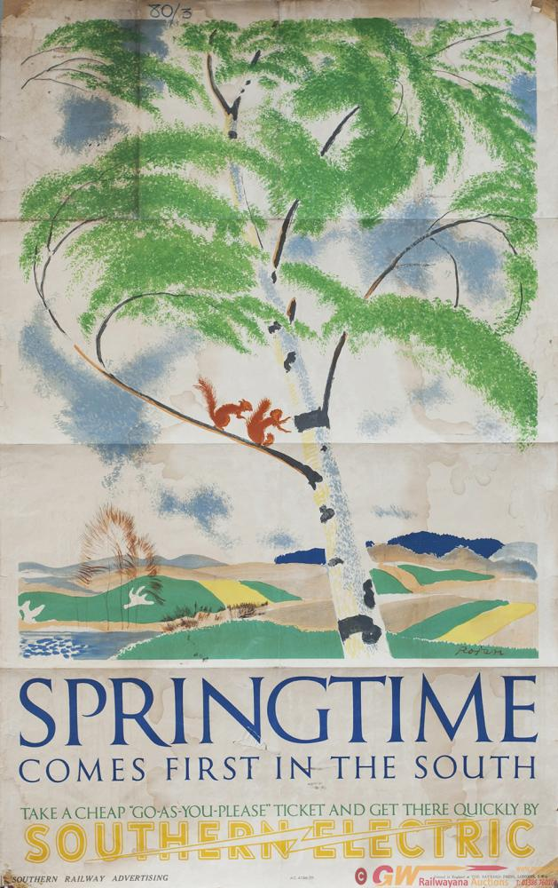Poster Southern Railway SPRINGTIME COMES FIRST IN