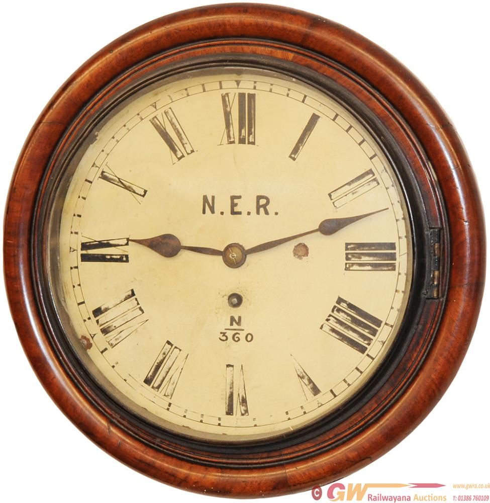 NER 10in Mahogany Cased Fusee Clock Numbered NER