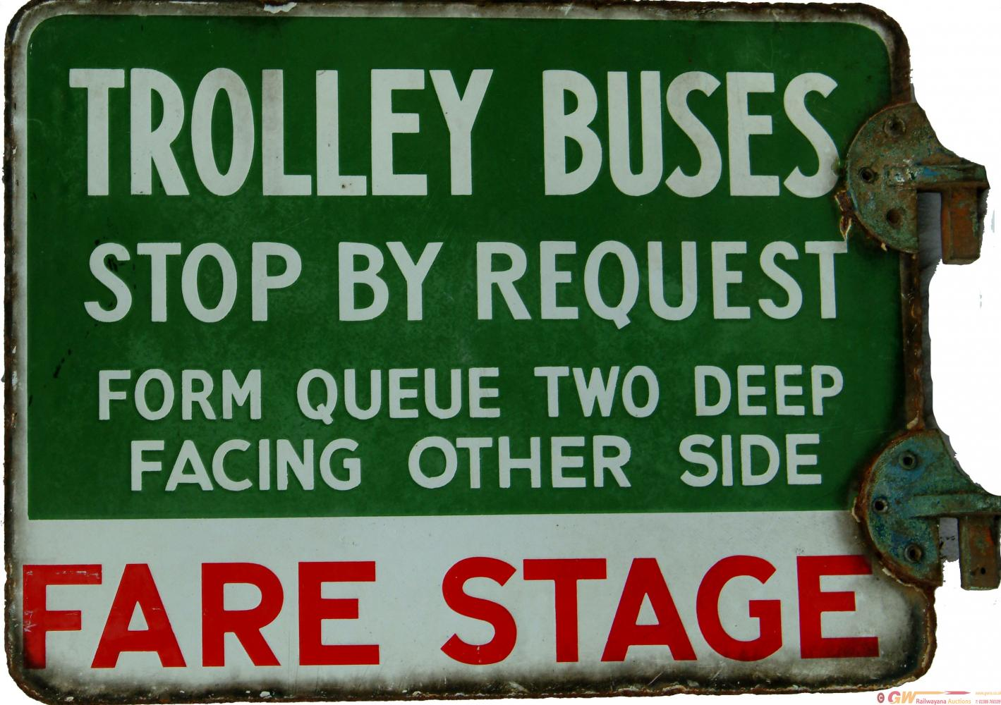 Double Sided Enamel Sign , Trolley Buses Stop By