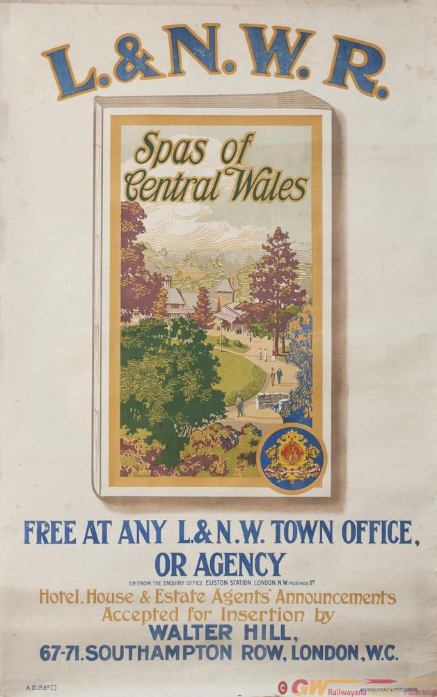Poster LNWR SPAS OF CENTRAL WALES FREE AT ANY