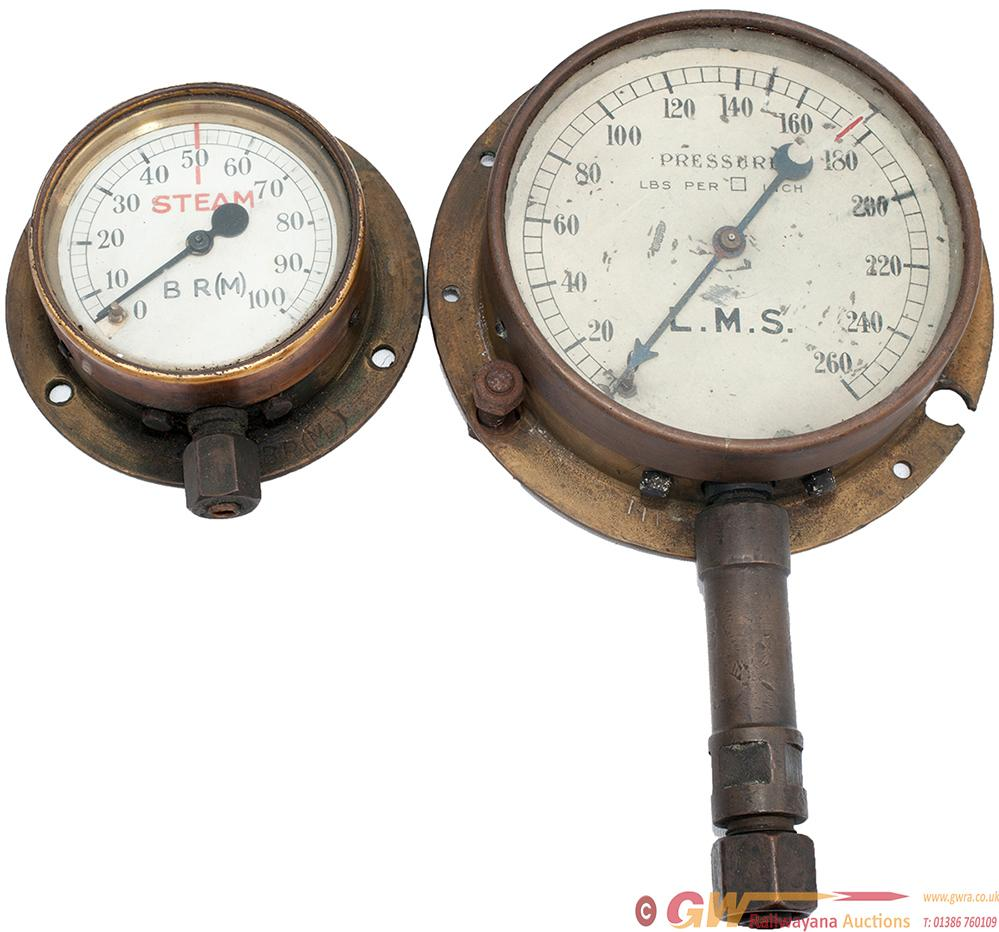 LMS Brass Cased Boiler Pressure Gauge With Painted