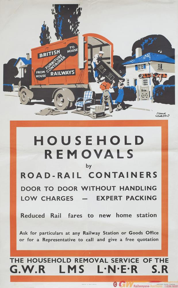 Poster GWRLMSLNERSR ww2 HOUSEHOLD REMOVALS BY ROAD