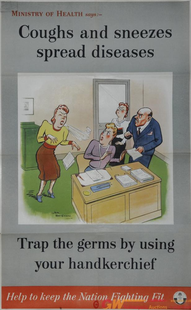 Poster Ministry Of Health 'Coughs And Sneezes