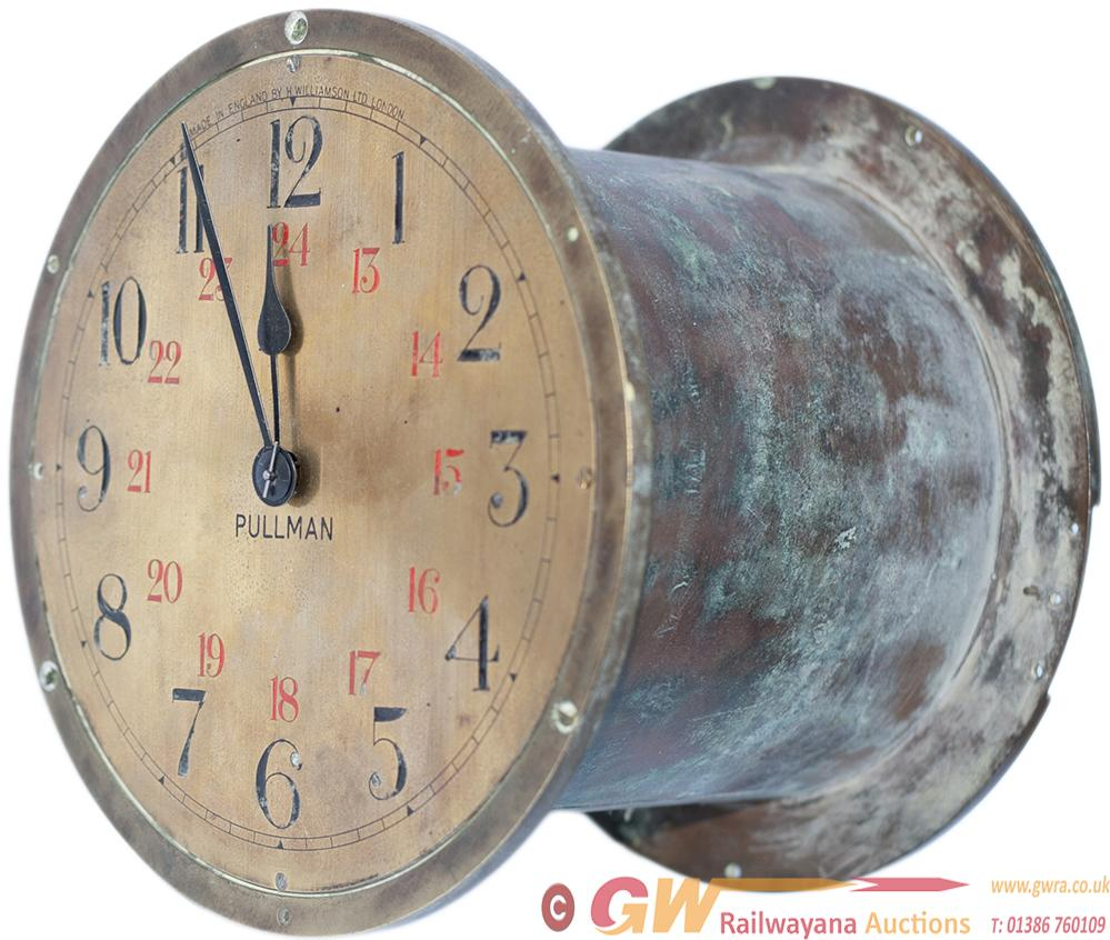 Pullman Brass Cased Double Sided Clock. The 8in