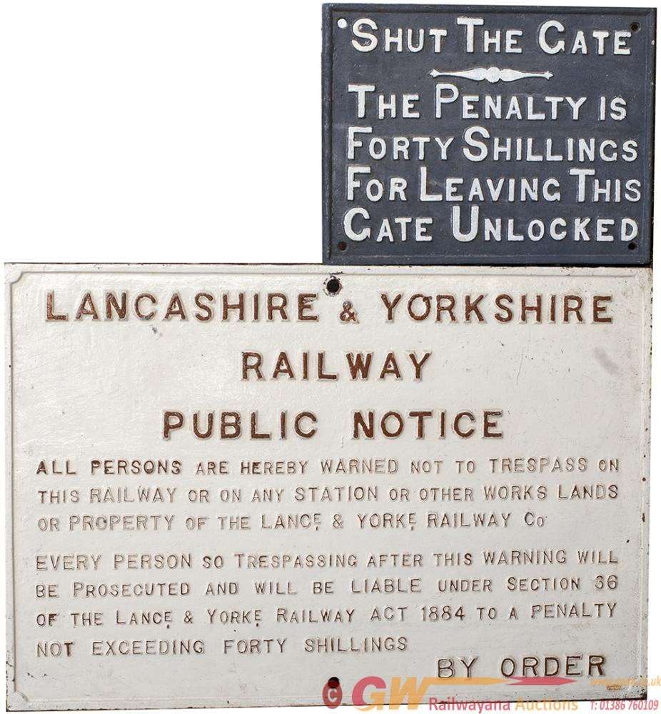 A Pair Of Railway Cast Iron Signs To Include: