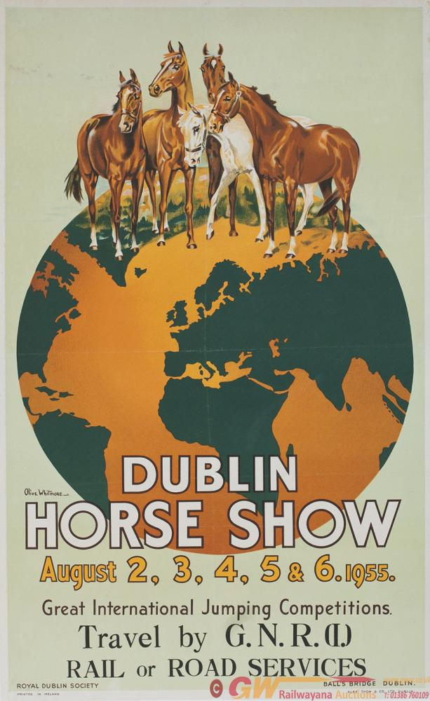 Poster GNR(I) DUBLIN HORSE SHOW OF THE YEAR 1955