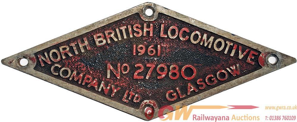 North British Alloy Diamond Worksplate No 27980 Of