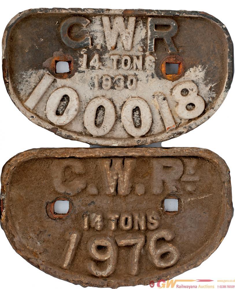 GWR D Shape Wagonplates X 2 G.W.R. 14 TONS 1930 No