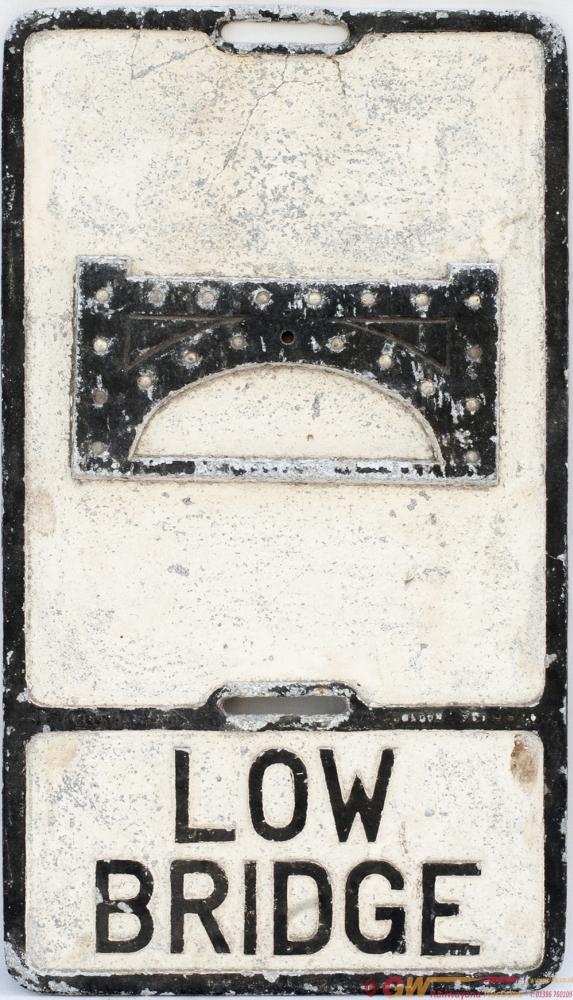 Road Motoring Sign LOW BRIDGE. Cast Aluminium