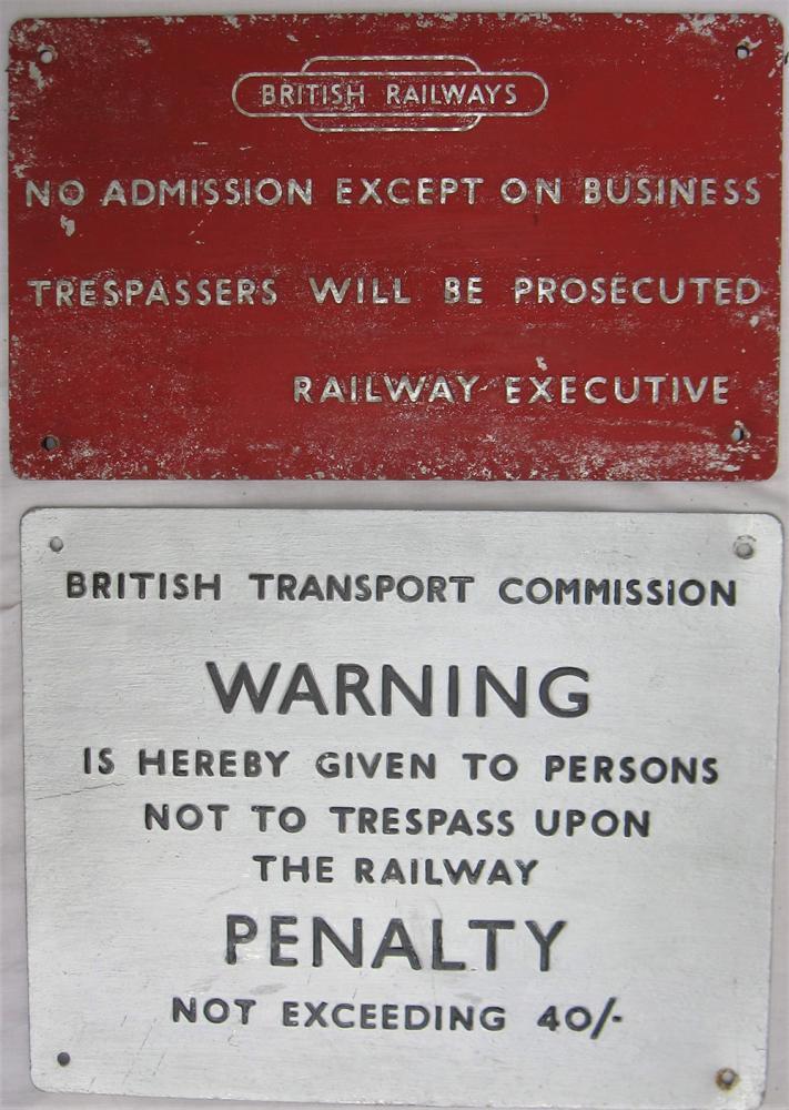 2 X BR Pressed Aluminium Signs. BRITISH RAILWAYS,