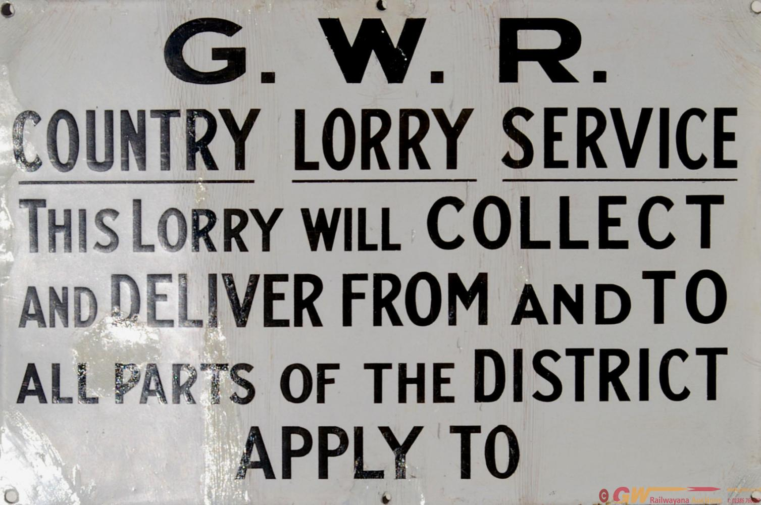 GWR Enamel Sign, Black And White Reads 'GWR