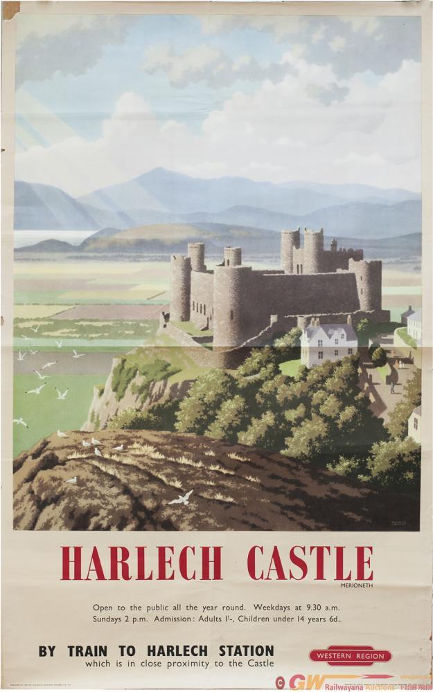 Poster BR HARLECH CASTLE By Ronald Lampitt. Double