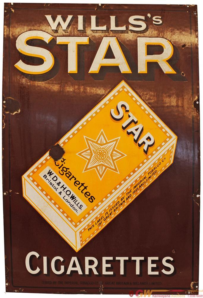 Advertising Enamel Sign 'Wills Star Cigarettes'