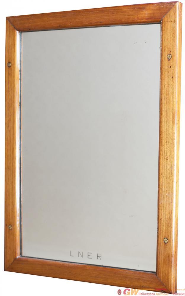 LNER Mahogany Framed Mirror In Original Condition,