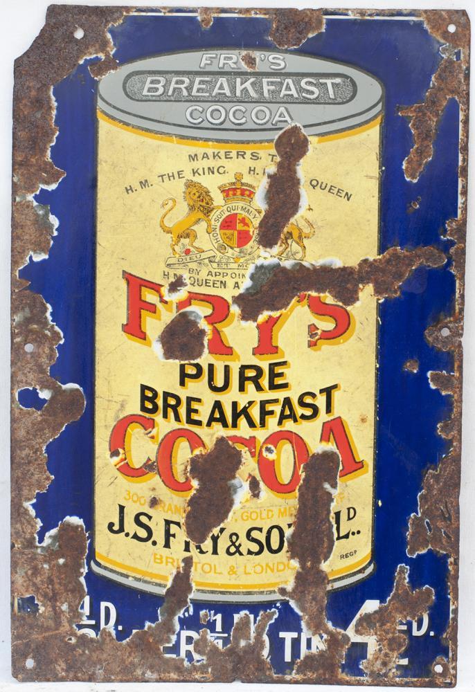 Enamel Advertising Sign. FRY'S PURE BREAKFAST