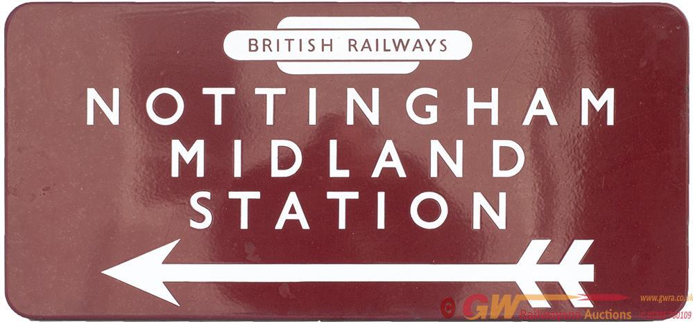 BR(M) FF Enamel Station Direction Sign NOTTINGHAM
