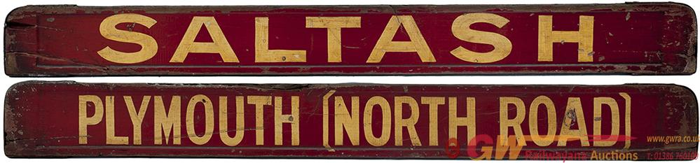 GWR  BR-W Wooden Carriage Board PLYMOUTH [NORTH