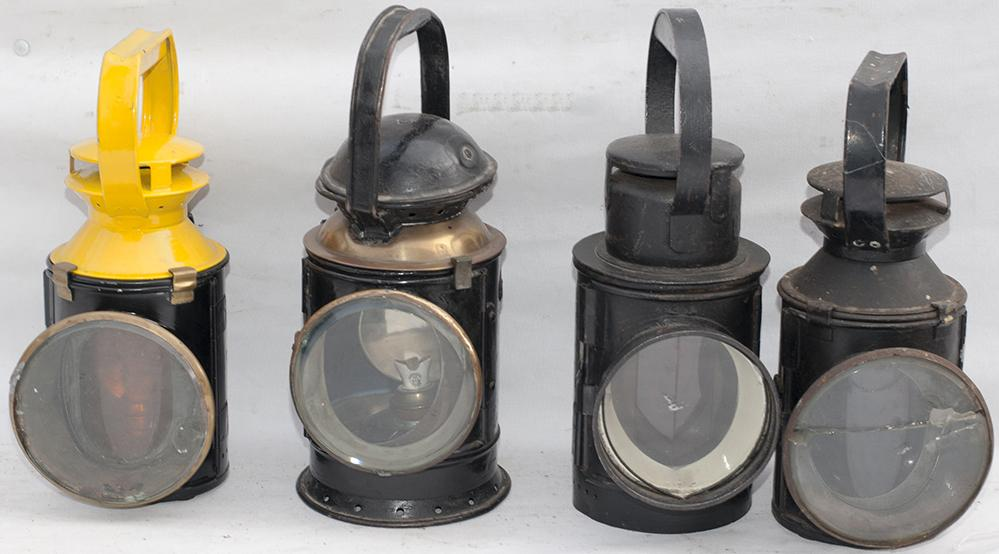 4 X Railway Hand Lamps. 1 X GWR. 1 X LMS And 2 BR