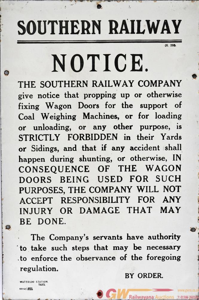 Southern Railway Enamel 'Propping Of Wagon Doors