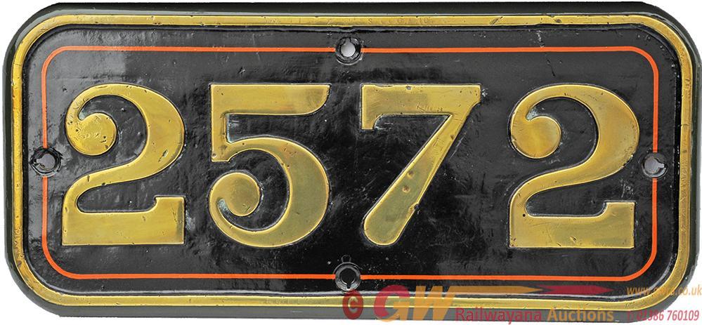 GWR Cabside Numberplate 2572. Ex GWR Dean Goods