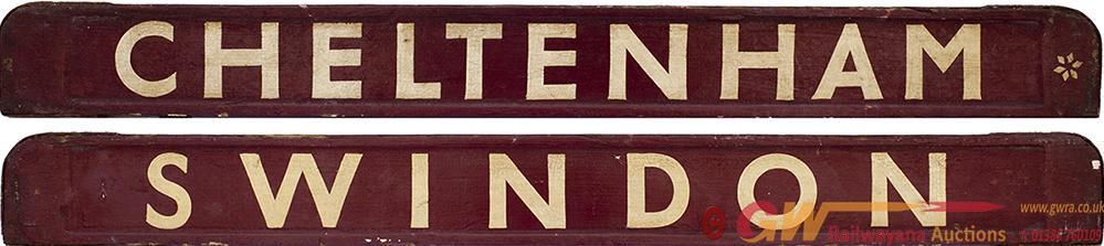 GWR/BR-W Wooden Carriage Board CHELTENHAM-SWINDON