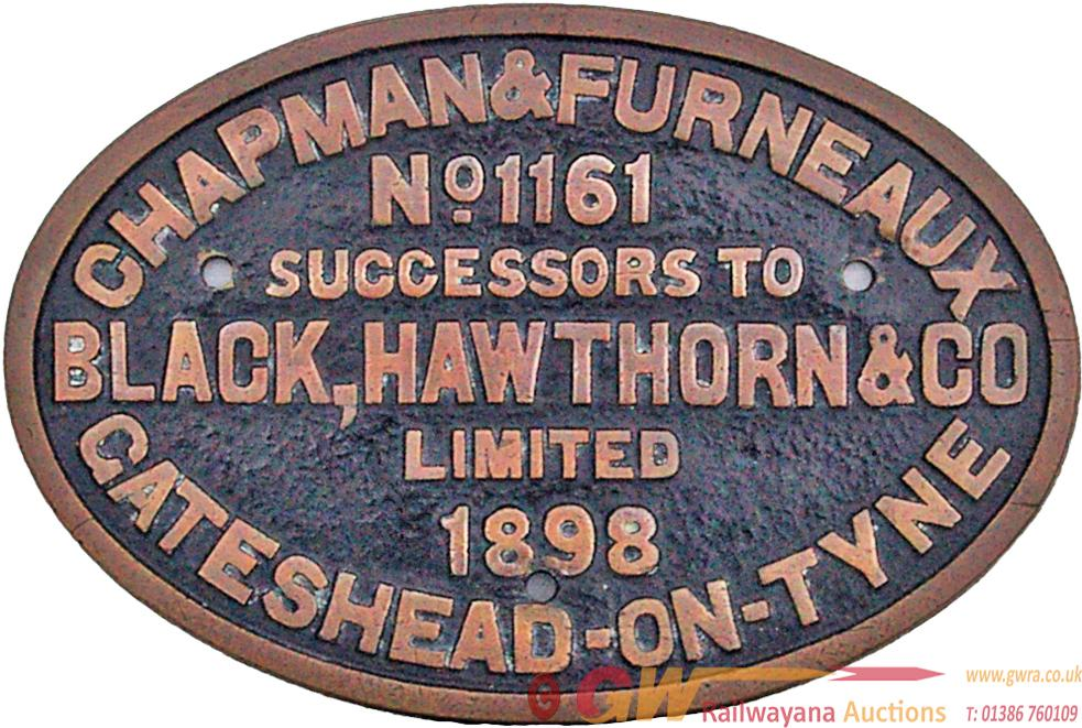 Worksplate Chapman & Furneaux No 1161 Dated 1898