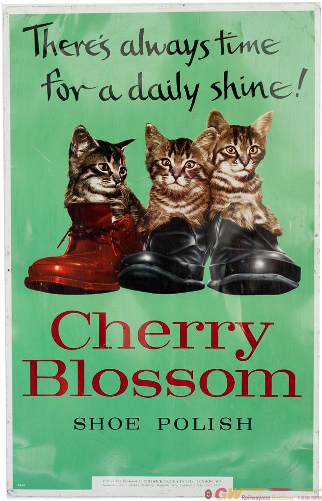 Advertising Tinplate Sign CHERRY BLOSSOM SHOE